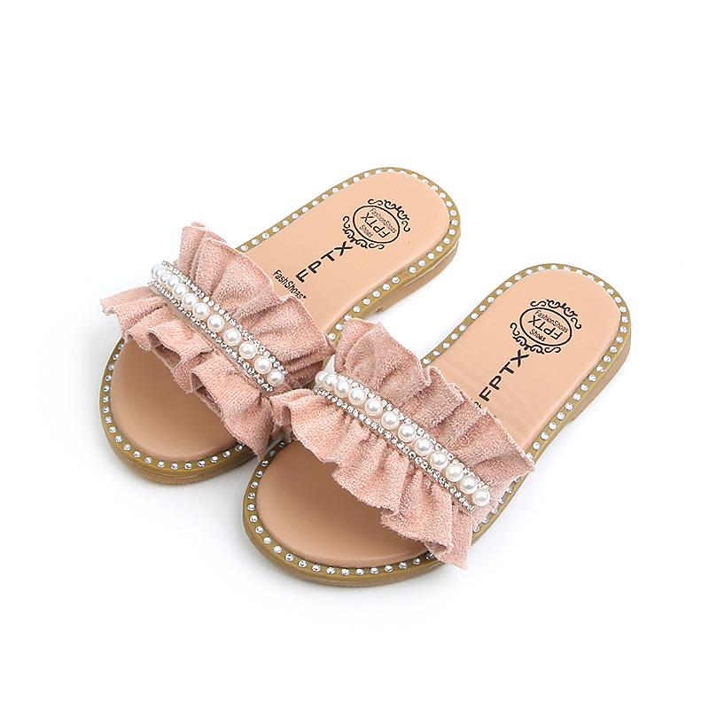 Children Pearl Beading Embellished Decorative Home Soft Slippers Summer Outdoor Beach Sandals SlippersChildren Pearl Beading Embellished Decorative Home Soft Slippers Summer Outdoor Beach Sandals Slippers