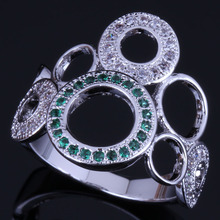 Lovely Round Green Cubic Zirconia White CZ 925 Sterling Silver Ring For Women V0483 925 sterling silver dragon claw round green cz eye mens biker skull ring 9m202a