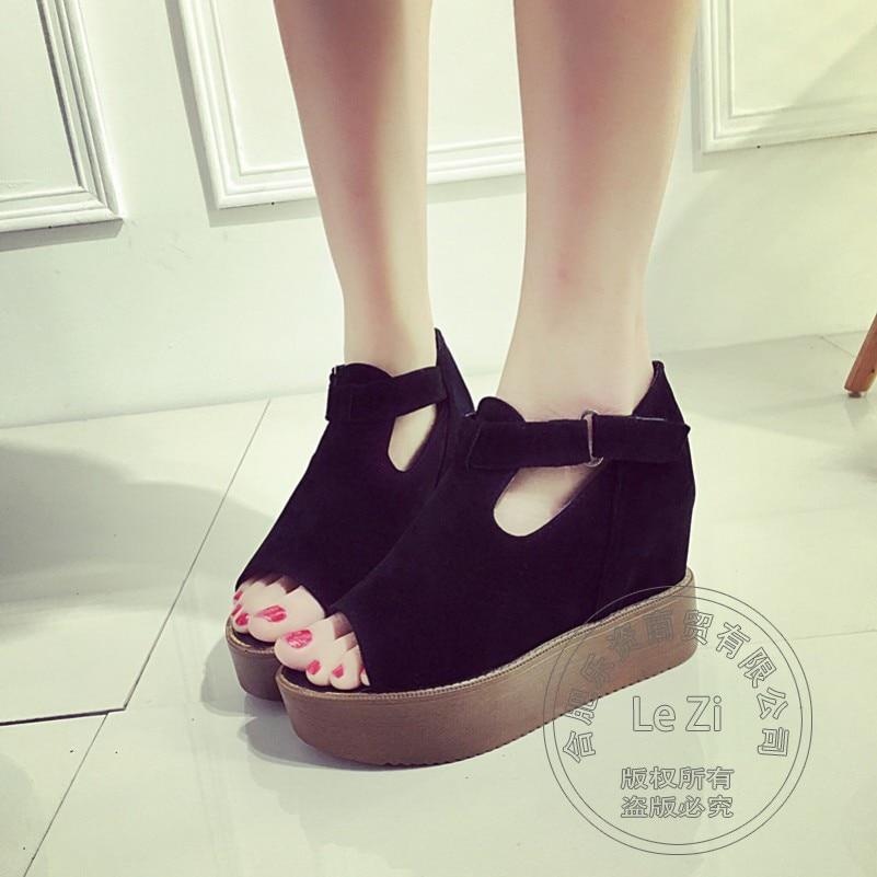 font b Women s b font Shoes Leisure T Strap Wear Platform Shoes Wedge Flatform