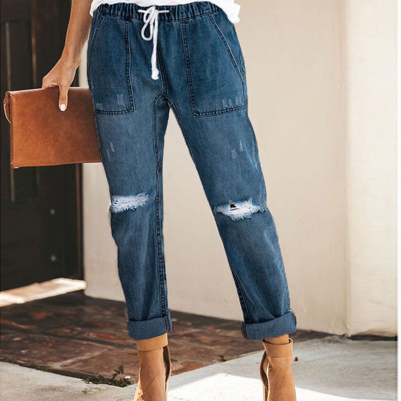 Vintage Ladies Boyfriend   Jeans   For Women Plus Size XXL High Waist Slim Denim Pants Blue Straight Elastic Waist Womens   Jeans   A215