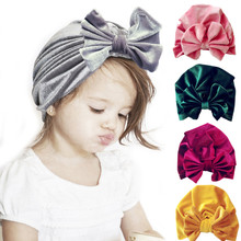 Christmas Baby Girl Caps Velvet Toddler Kids Turban Hat With Bowknot 0-3Yrs Bebe Beanie Autumn Winter Bonnet Headwear(China)