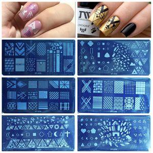Image 1 - 1PCS 20 Designs Nail Stamping Plates Fashion Geometric Dot Square Triangle Line Pattern Templates for Polish Nail Stamp XYZ19 32
