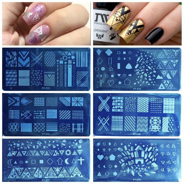 1PCS 20 Designs Nail Stamping Plates Fashion Geometric Dot Square Triangle Line Pattern Templates for Polish Nail Stamp XYZ19 32