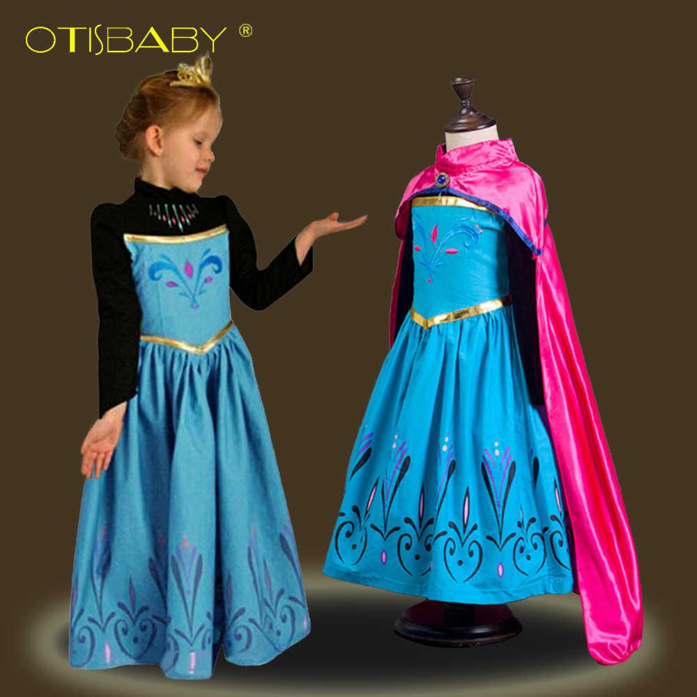 kar kralicesi cocuk fantezi anna kizlar icin elbiseler kostumleri pelerin karnaval kiz giysileri cocuklar elsa prenses elbise kis