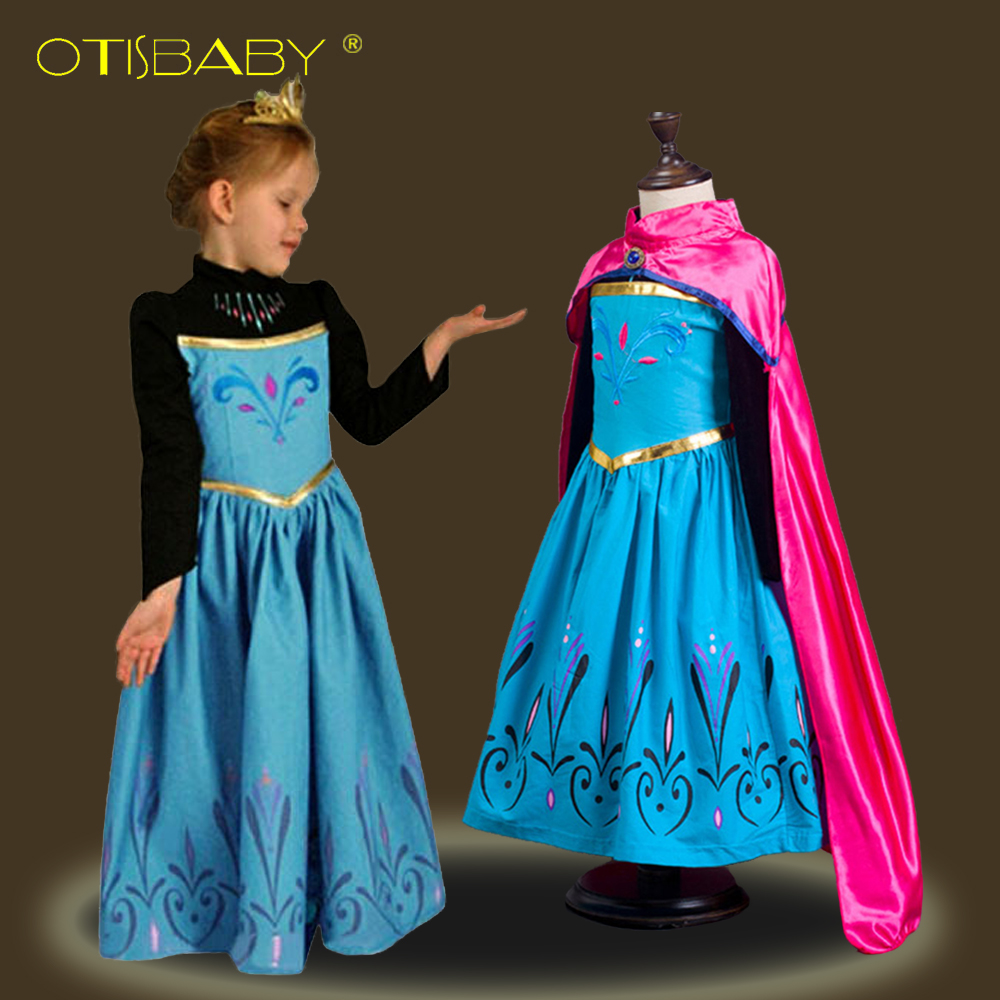 Snow Queen Children's fantasy Anna Dresses for Girls Costumes with Cloak Carnival Girl Clothes Kids Elsa Princess Dress Winter стоимость