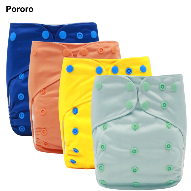 PORORO All In One Cloth Diaper With 2 Bamboo Flaps, One Size Fits All Adjustable Size Baby Reusable Nappy With Color Snaps