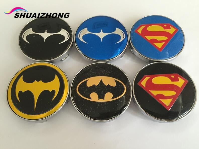 Superman Car Accessories: 4pcs 56mm 60mm Batman Superman Car Wheel Center Hub Cap