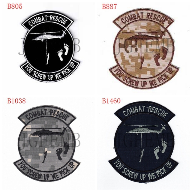 efda794a28d7d US $5.53 15% OFF|USAF PJ combat rescue you screw up we pick up Morale  tactics Military Embroidery patch-in Patches from Home & Garden on ...