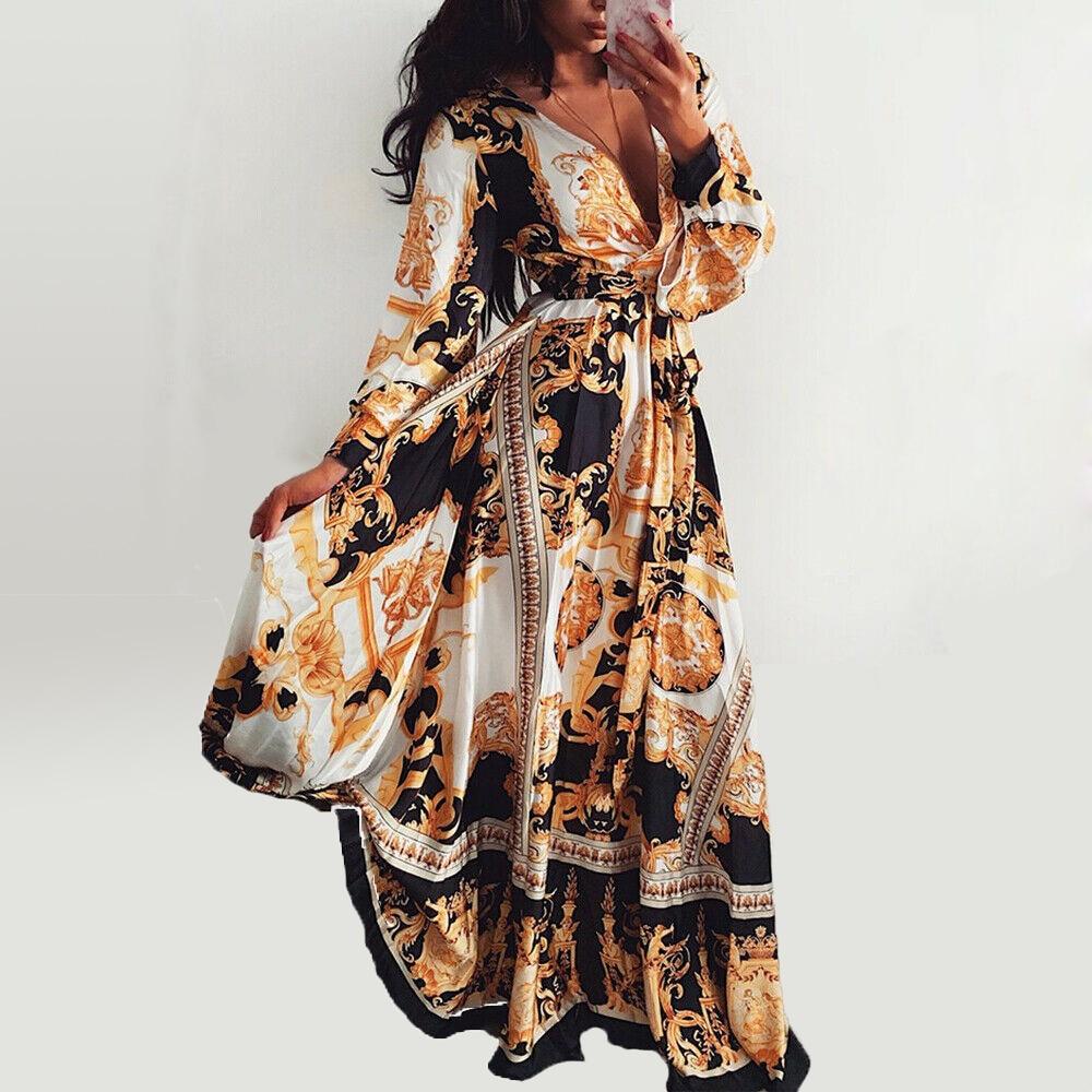 Women/'s 2//3 Sleeve V-Neck Front Split Baroque Print Long Maxi Dress