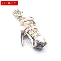 2017 New Thomas Style Pink High Heels Charm Pendant DIY Bracelet Accessories Charm Gift For Women