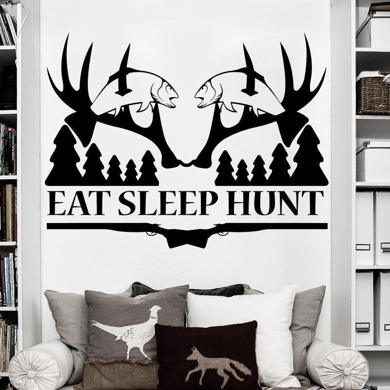 Removable Eat Sleep Hunt Deer Hunting Wall Sticker Art