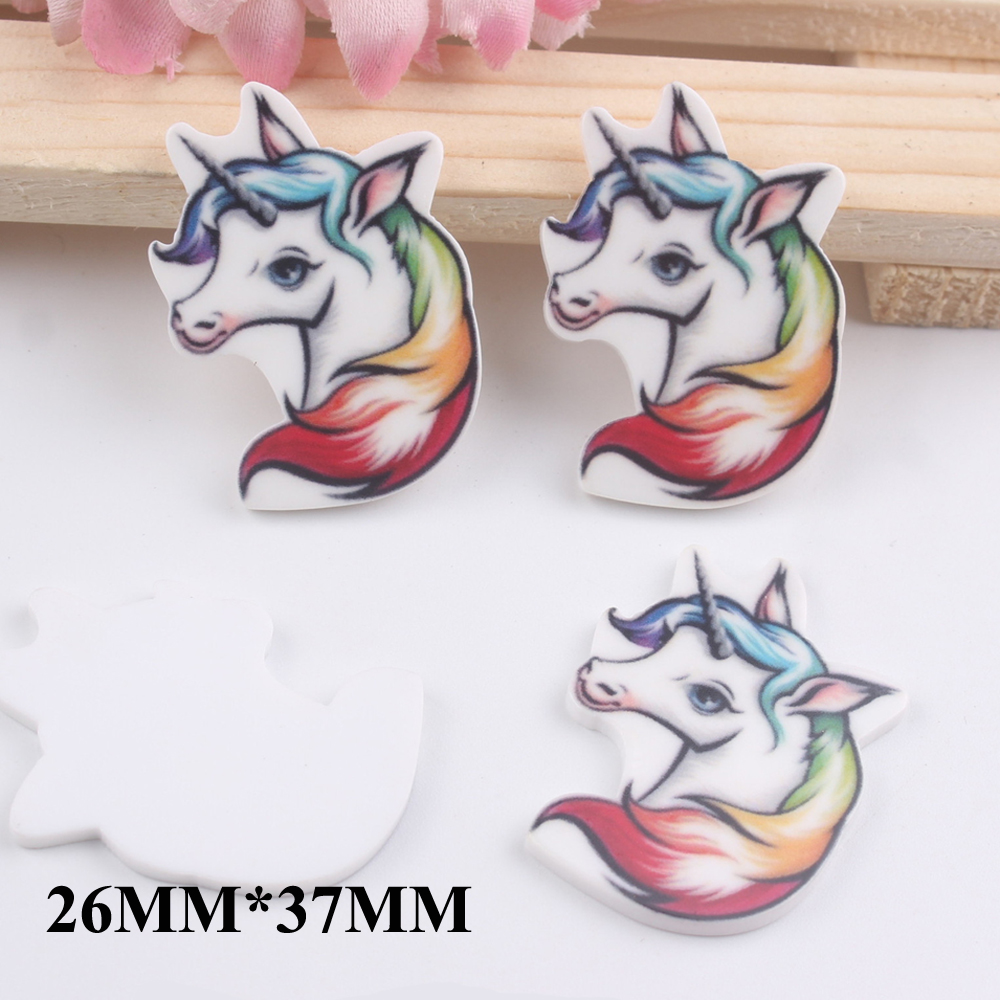 50pcs 26*37MM Cartoon Unicorn Flat Back Resins For Childrens Hair Bow Accessories Horse Planar Resin DIY Craft Decoration FR046