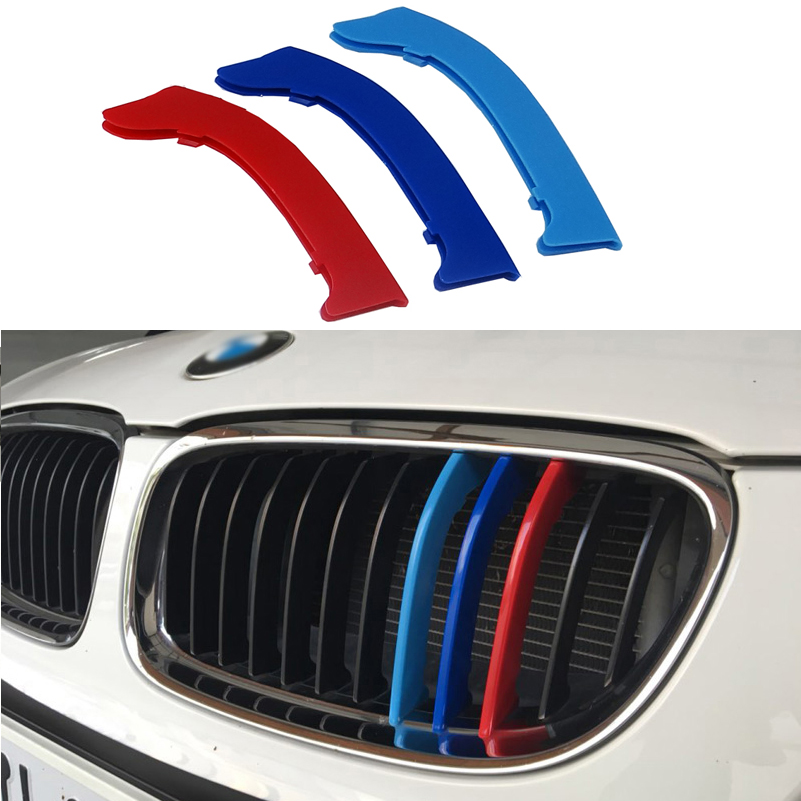 3D M Car Front Grill Strip Sport Grille Trim Cap Cover Performance Stickers For 2005-2012 BMW 3 series E90 E91