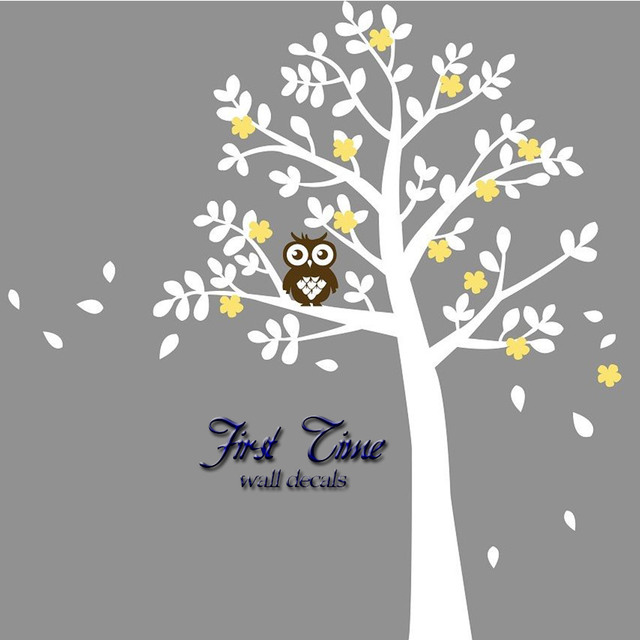 Por Huge Tree Owl Flowers Wall Sticker Nursery Art Baby Kids Room Decal Personality