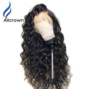 Image 1 - ALICROWN/короткие волнистые кружевные передние человеческие волосы, парики для женщин, бразильские Remy 13х4 кружевные парики с детскими волосами, предварительно выщипанные боковые части