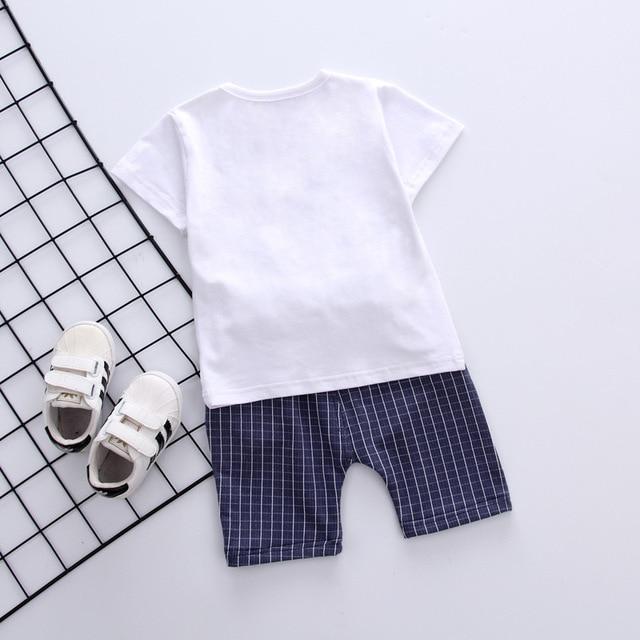 Newborn cap style white t-shirt+short 2pcs set 5