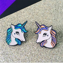 Tong qu creative little cute animal unicorn brooch fine coat sweater shirt collar pin bag accessories(China)