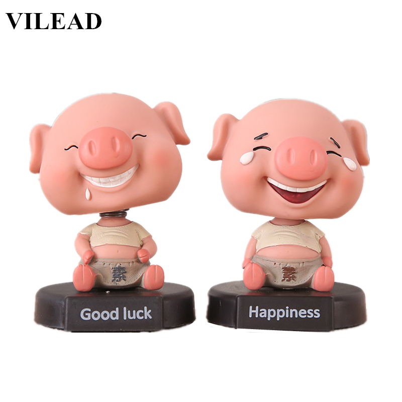 VILEAD 3.3'' Cute Hanppiness Good Luck Pig Figurine With Spring Neck Shakeable Head Pig Miniatures Model For Car Home Decoration