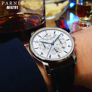 Image 2 - Parnis 43 มม.นาฬิกาอัตโนมัติ Moon Phase Power Reserve นาฬิกาผู้ชายแบรนด์หรู Miyota Mechanical Winder นาฬิกา PA6062 A ของขวัญผู้ชาย