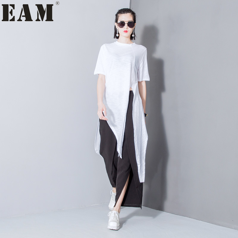 [EAM] Autumn Fashion New Solid Color Split T Shirt Korean Loose Modal Irregular T Shirts Tops Thin Woman T29800