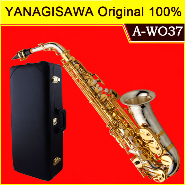 цена Brand NEW YANAGISAWA A-WO37 Alto Saxophone Silver Plated Gold Key Professional Sax Mouthpiece With Case and Accessories