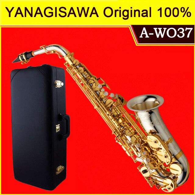 Marca nueva YANAGISAWA A-WO37 saxofón Alto chapado en oro llave profesional saxo boquilla con funda y accesorios