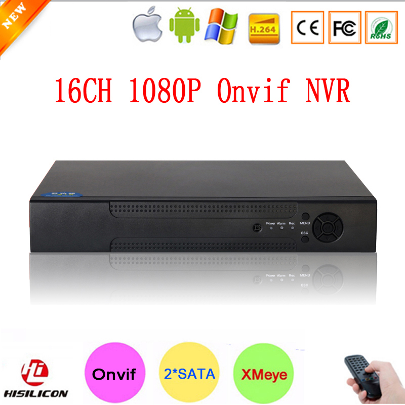 ФОТО Hisiclion Chip Metal Case XMeye P2P Two SATA Port 1080P 16ch Onvif 16 Channel Surveillance Video Recorder NVR Free Shipping