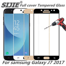 Full cover Tempered Glass for samsung Galaxy J7 2017 J730F J730 J 7 Screen Protective Gold Black frame all edge display thin(China)