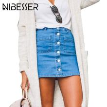 NIBESSER High Waist Jeans Skirts women Casual Sexy Pencil Mini Skirt Denim Skirts Women Summer Fashion Bodycon Button bottoms(China)