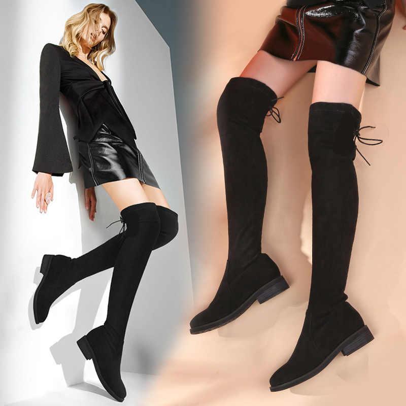 KATELVADI/размеры 34-43; Сапоги выше колена; женские сапоги до бедра из флока с круглым носком на низком квадратном каблуке; Цвет Черный; зимние сапоги K-196