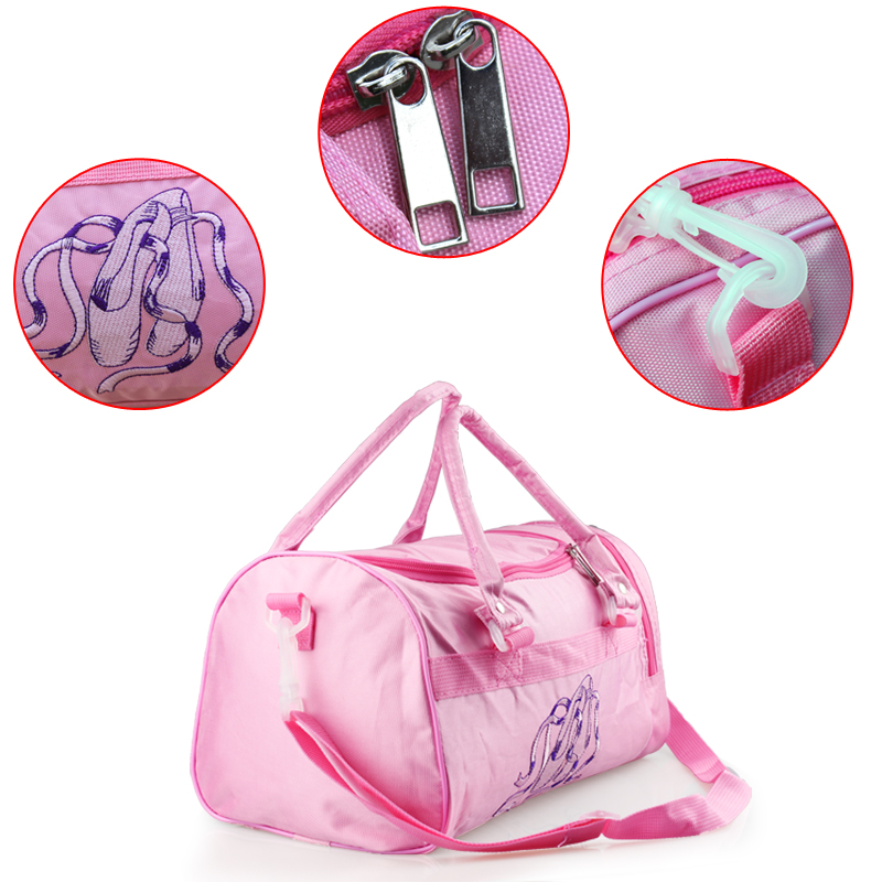 Hot Sale Embroidered Shine Sequin Pointe Shoes Waterproof Nylon Canvas Ballet Kids Dance Handbags Pink Crossbody For Women