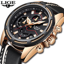 LIGE Mens Relógios Top Marca de Luxo Relogio masculino Quartz Relógio De Ouro Dos Homens de Couro Ocasional Militar Esporte Relógio de Pulso À Prova D' Água