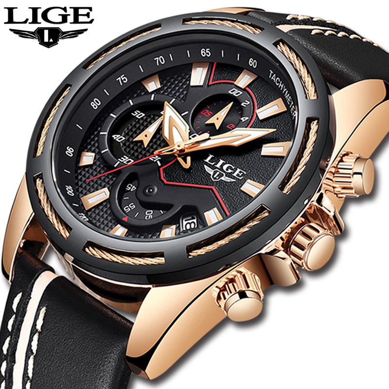 relogio masculino Mens Watces Top Brand Luxury LIGE Men's Waterproof Military Sports Watch Men Casual Leather Quartz Gold Watch