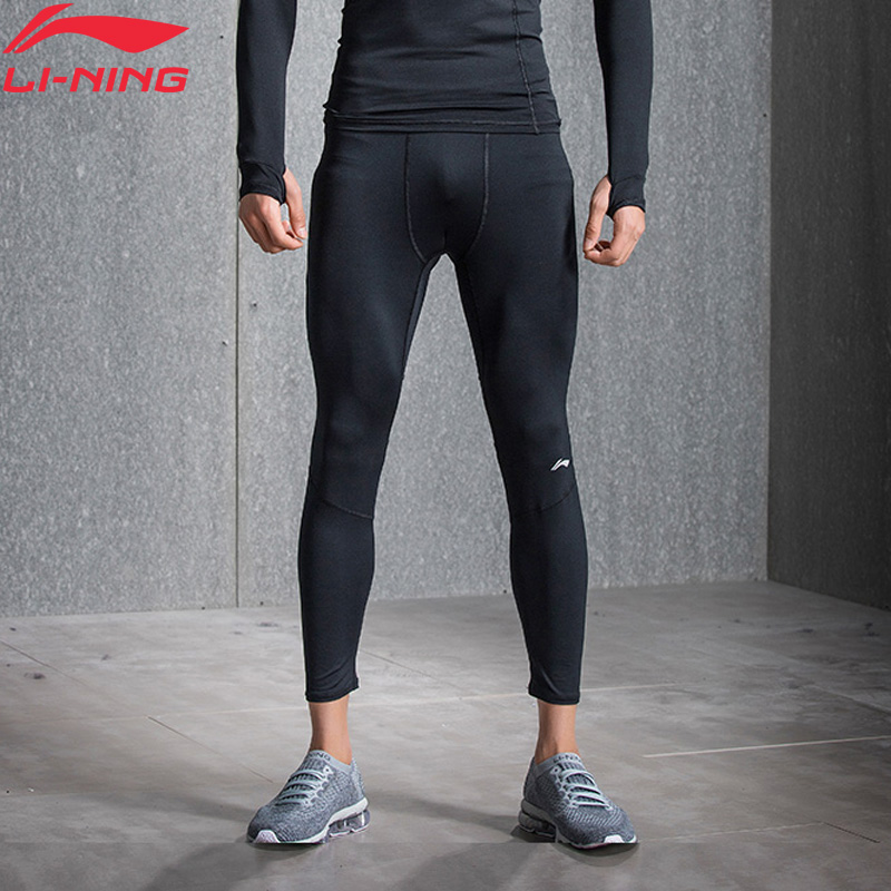 Li-Ning Men Base Layer Pants Tight Fit Stretchy Jersey Fitness Gym 88%Polyester 12%Spandex LiNing Sports Pants AULN015 MKY355(China)