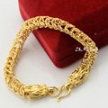 Fashion Women Men 7mm Wide Yellow Gold Filled Bracelet Dragon Head Style Chain & Link Wristband
