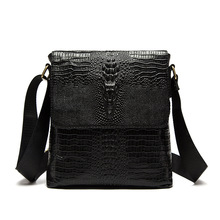 цены Genuine Leather men's shoulder bag business first layer of leather crocodile pattern men bag vertical Messenger bag