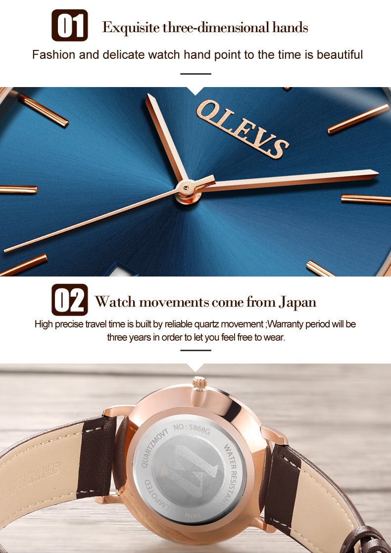 Men luxury brand quartz watches leather strap minimalist ultra-thin waterproof watch fashion wrist watch with high quality 9