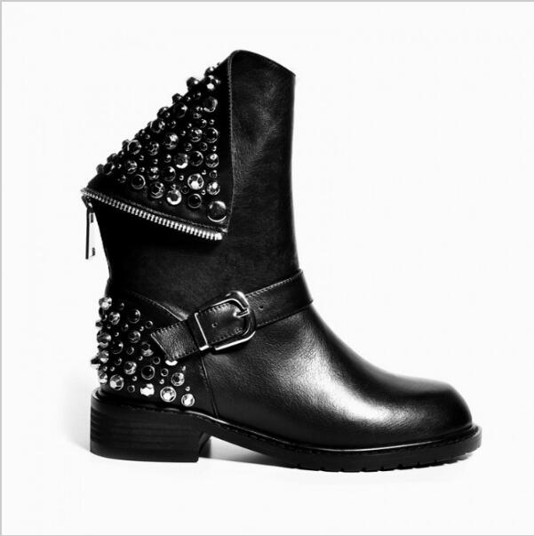 High Quality Women Boots Black Ankle Boots Flat Heel Rivets Crystal Boots Women Shoes Platform Free Shipping black women boots flat heel casual