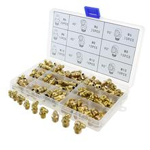 цена на 135pcs M6 M8 M10 Brass Zerk Grease Nipple Fittings Assortment Kit for car truck excavator Grease nozzle