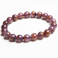 New Arrival 9.5mm Genuine Natural Purple Gold Cacoxenite Rutilated Quartz Crystal Round Beads Jewelry Women Stretch Bracelets