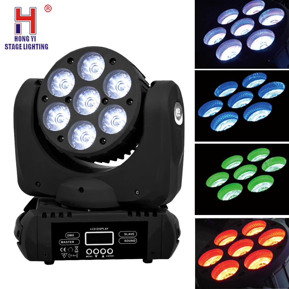 Led moving head stage lighting effect 7x12w rgbw 15 DMX Channels beam effect for dj party