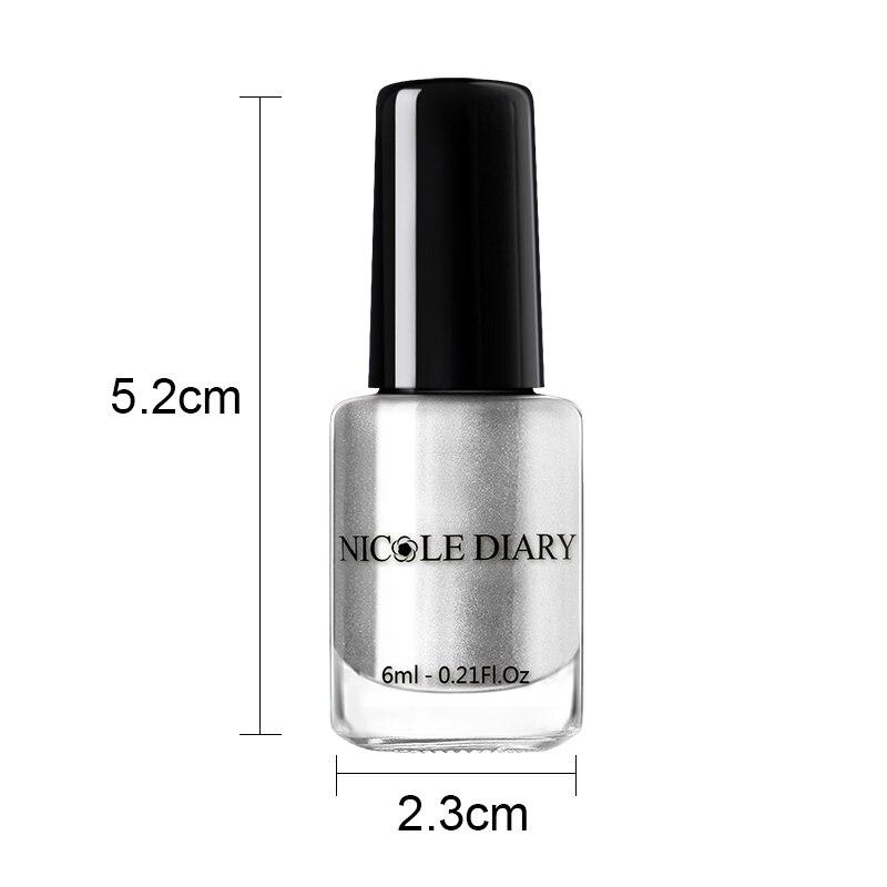NICOLE DIARY Metallic Stamping Nail Polish Pure Nail Color Print Stamping Polish Nail Art Shimmer DIY
