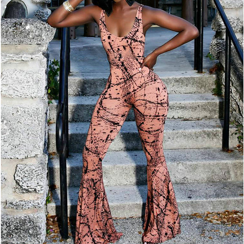 2018 Flare Style Sexy Backless Women Sleeveless Romper Ladies Wide Leg Pants Stretch Jumpsuits Print Sheath Slim Overalls