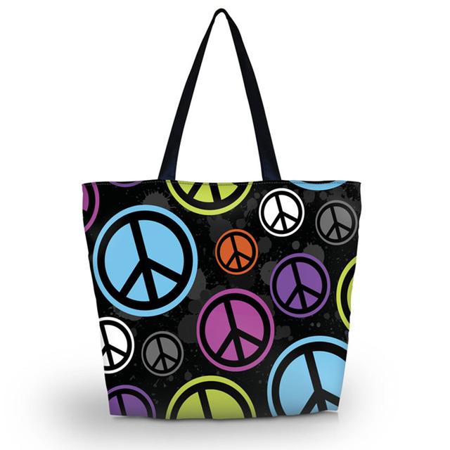 New Peace Sign Soft Womens Lady S Ping Tote Bag Utility Shoulder Zip Handbag Foldable