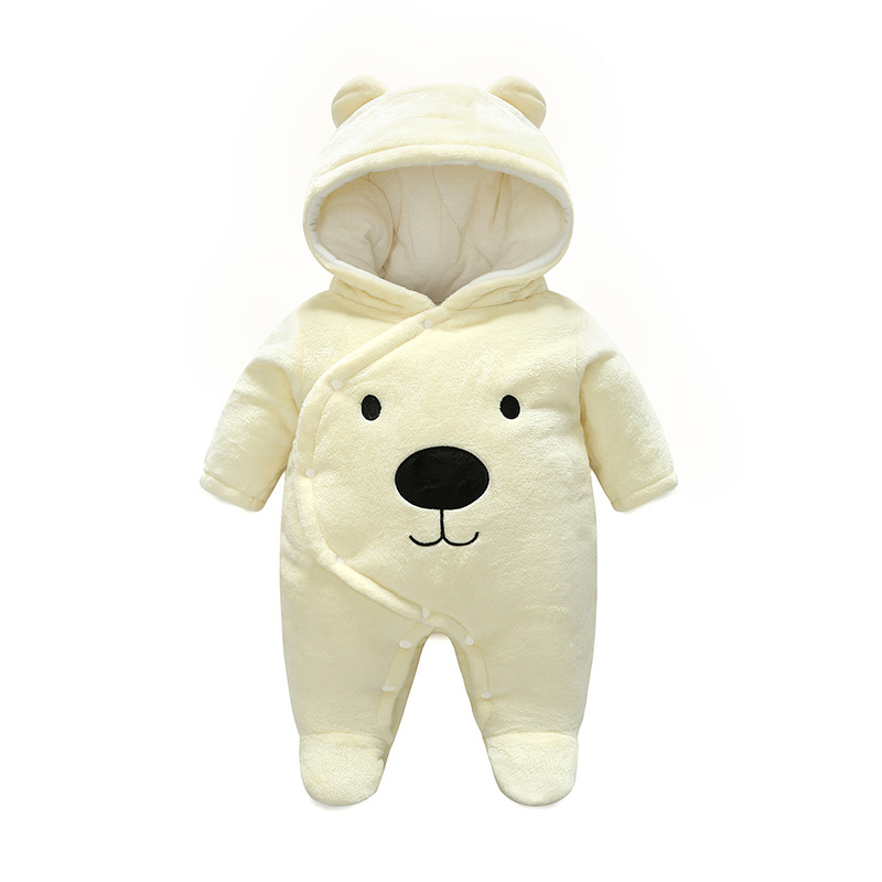 Cute Cartoon Dog White Autumn Baby Girls   Rompers   Long Sleeves Spring Winter Fleece Jumpsuit Warm Jacket For 1 Year Boys Clothes