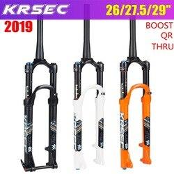 KRSEC widelec rowerowy MTB zawieszenie pneumatyczne 26 27.5 29 cal ze stopu magnezu Mtb widelec akcesoria QR 100*9 MM 100*15 MM blokady w Widelce rowerowe od Sport i rozrywka na