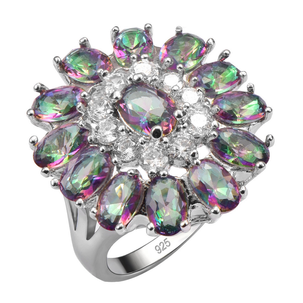 Exquisite Rose Rainbow Crystal Zircon925 Sterling Silver Ring Beautiful Jewelry Size 6 7 8 9 10