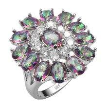 Изысканные Розы Радуга Кристалл Zircon925 Стерлингового Серебра Красивые Ювелирные Изделия Кольца Размер 6 7 8 9 10 11 12 F1541