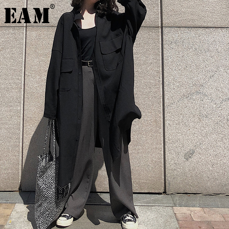 [EAM] 2019 New Autumn Winter Lapel Long Sleeve Button Pockets Brief Temperament Long Coat Windbreaker Women Trench Fashion JX283