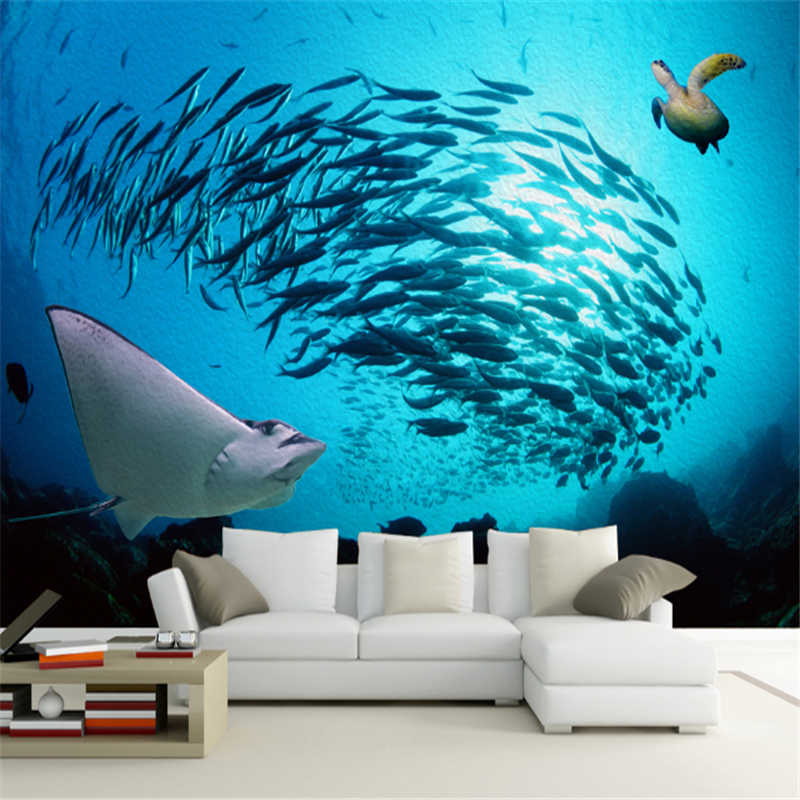 US $23.0 48% OFF|Customized Photo Wallpaper 3D Ocean Fish Turtle Living  Room Bedroom Sofa Tv Background Wall Embossed Wallpaper Non Woven Wall-in  ...